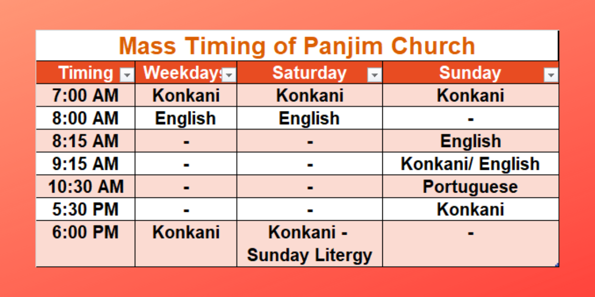Our Lady of Immaculate Conception Church, Panjim Church mass Timing